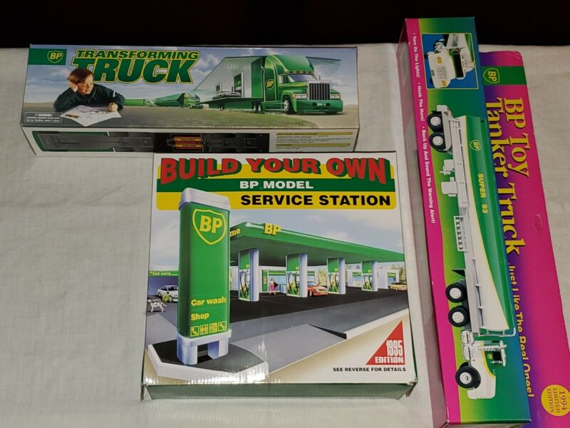 Vintage BP Truck-Toy Lot X3- Transforming truck,Tanker & Service Station New