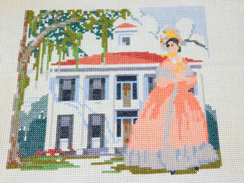 Completed Counted Cross Stitch Piece GONE WITH THE WIND Picture Southern Belle