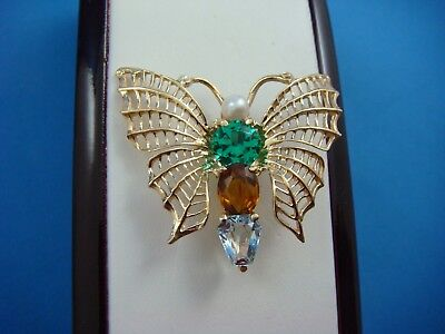14K YELLOW GOLD VINTAGE BUTTERFLY BROOCH WITH MULTI-COLOR STONES  6.1 GRAMS