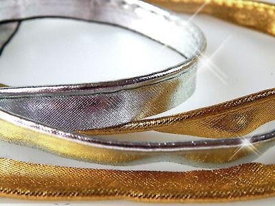 2 m Satin-Paspelband 1,35 €/m gold/ silber - Satin-paspel