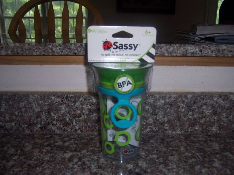 Sassy tritan 9 oz training sippy cup new 6+ months  green circles