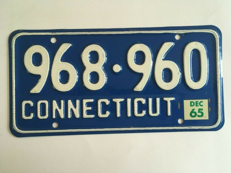 "1965 Connecticut License Plate ""VG"" NICE Natural Sticker on 1957 base"