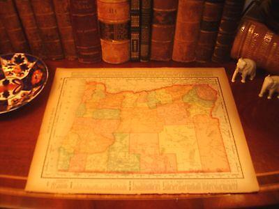 Large Original 1898 Antique Map OREGON Eugene Portland Astoria Albany Salem OR