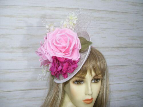 Roses Kentucky Derby Sinamay Fascinator Hat Easter Hat Wedding Hat Tea Party