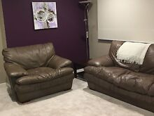 3 Piece brown leather couch Hallam Casey Area Preview