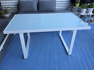 Glass and White Metal Outdoor Dining Table North Narrabeen Pittwater Area Preview