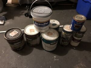 Cans of paint/tile adhesive/stain,varnish