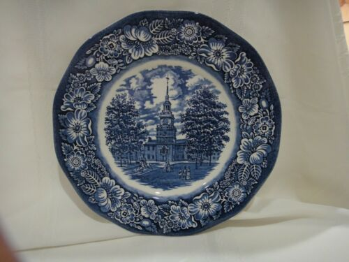 "Liberty Blue Historic Colonial Scenes Independence Hall 10"" Dinner Plate"
