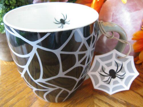 New XL Halloween Spider & Spiderweb Glazed Ceramic Coffee Mug