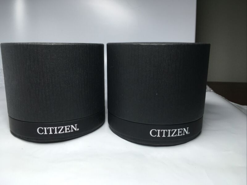 Lot of 2 Citizen Watch Boxes - Black Cylinder Shaped - Boxes Only - EUC