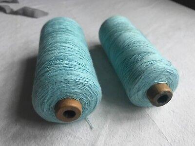 Vintage Wooden Bobbins Cotton & Wool Blue Grey Sewing supplies & Home Decor /2pc
