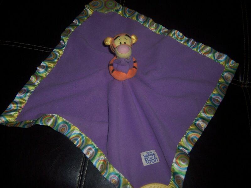 Disney Baby Winnie Pooh Tigger Purple Security Blanket Lovey Plush Teether Tige