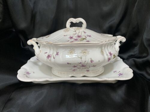 Antique Porcelain Soup Tureen with Lid and Platter