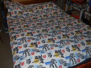 Vintage Transformers Twin Bedsheet Flat Sheet 60x84 Optimus Prime, Bumble Bee