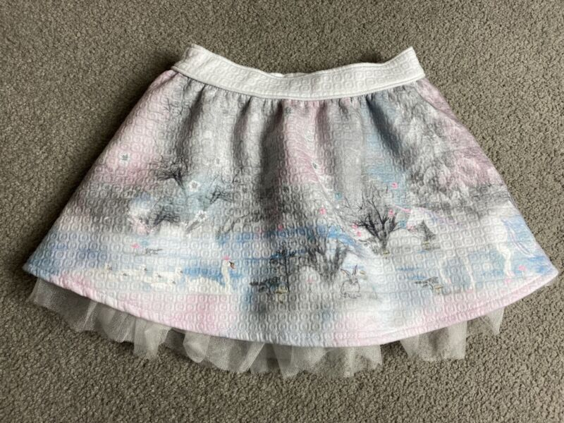 Baby Girl 12-18 Months Pretty Winter Woodland Christmas Skirt Nutmeg