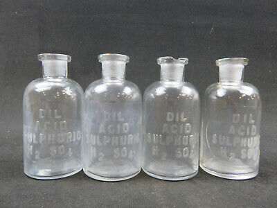 Lot Of 4 Dil Acid Sulfuric H2so4 Embossed Bottles Mbw Usa