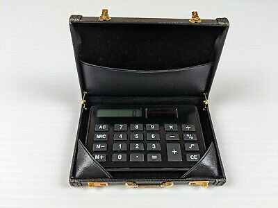 Faux Black Leather Business Card Briefcase Wcalculator Solar Power