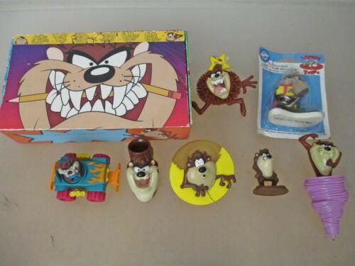 Vintage Looney Tunes Tazmanian Devil Pencil Box + 7 Toys Collectors Lot