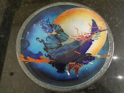 Retired Peggy Karr Halloween Witch On Broomstick Bowl  10 7/8