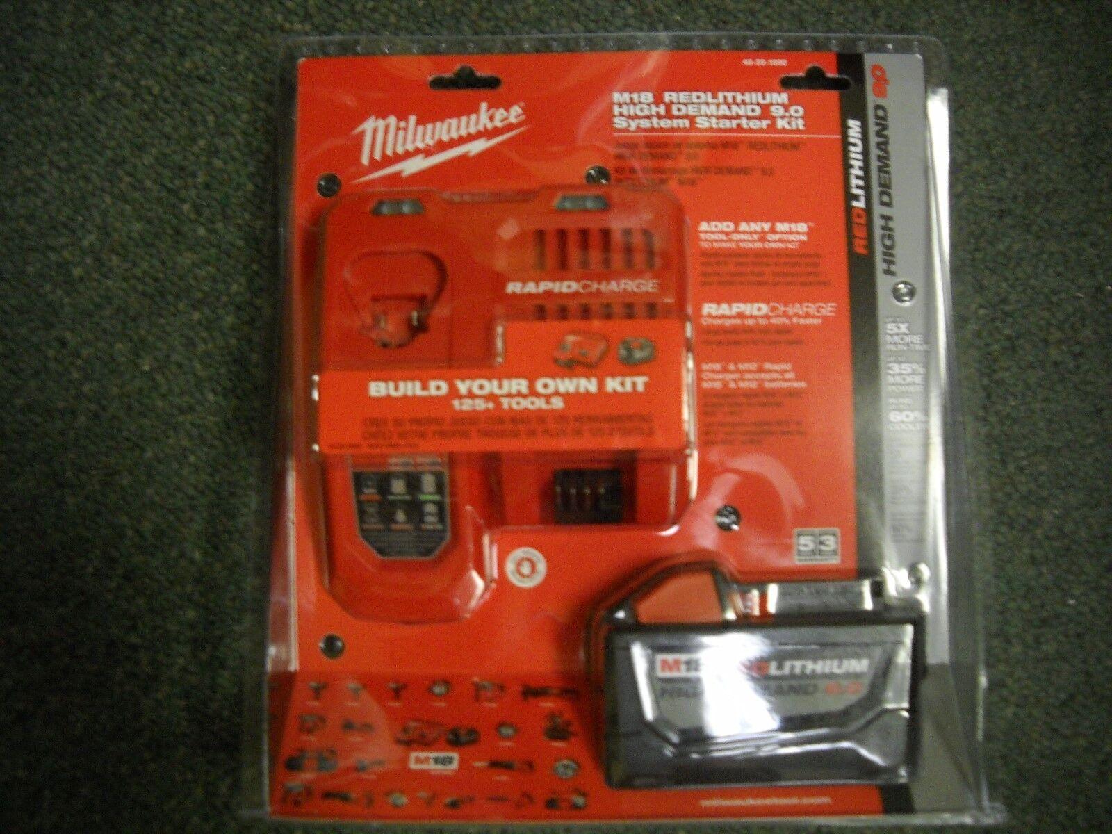 Milwaukee 48-59-1890 M18 REDLITHIUM HD 18V 9.0 Ah Li-Ion Battery Starter Kit NEW