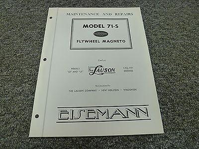 Eisemann 71s Flywheel Magneto For Lb Ls Lauson Engine Shop Service Repair Manual