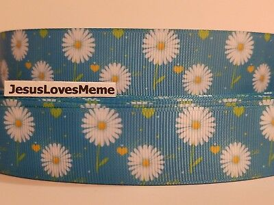 Grosgrain Ribbon Daisy Flowers on Light Blue Garden Daisies Floral Field 1