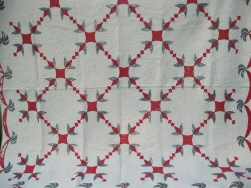 RED, WHITE & BLUE ANTIQUE TULIP QUILT WITH SWAG BORDER