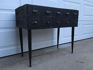 Antique 10 Drawer Card File Cabinet