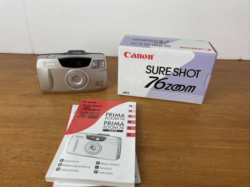 Canon Sure Shot 76 Zoom Date 35mm Point & Shoot Film Camera W/ Manual & Box