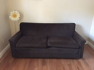 Dark brown small hide a bed couch