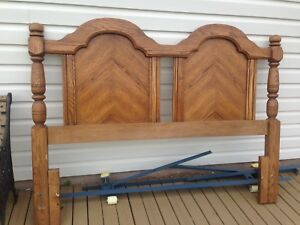 Solid oak headboard and frame Queen size