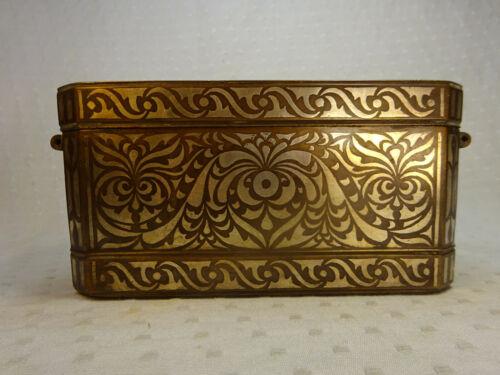 Antique Mindanao Bronze & Silver Inlaid Paan Box