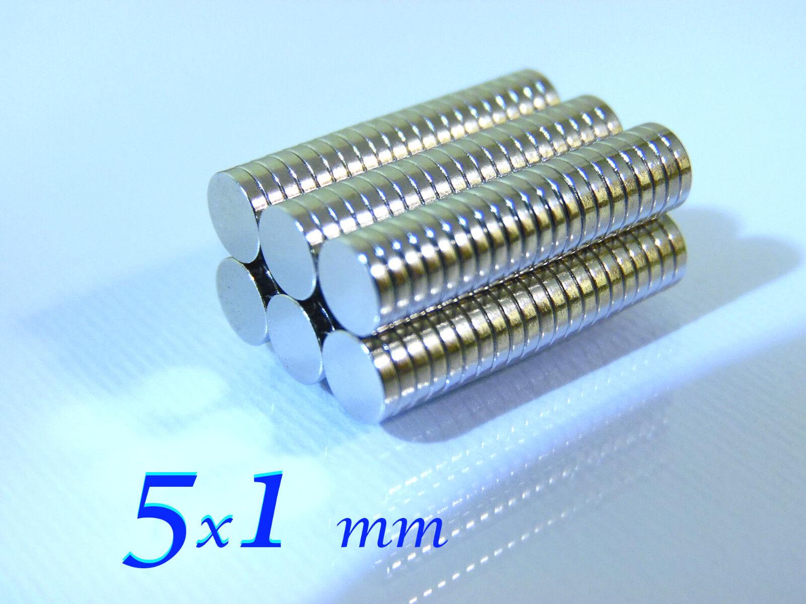 100 CALAMITE N48 MAGNETI NEODIMIO 100  pezzi   5x1 mm  POTENTI magnete per FIMO