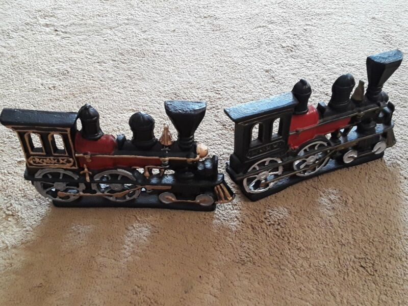 Cast Iron Hand Painted Steam Train Book Ends. Heavy Well Made