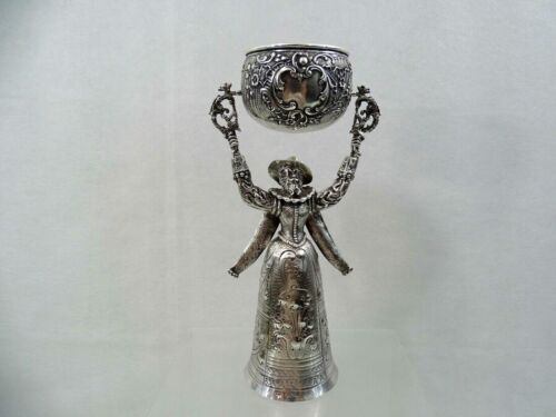 FINE QUALITY ANTIQUE STERLING SILVER WEDDING / BRIDAL CUP HAND CHASED Germany