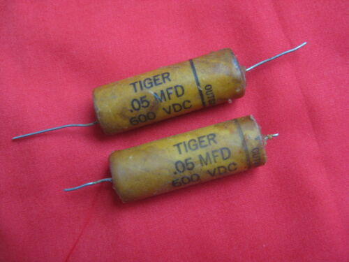Pair Cornell Dubilier .05 uF 600V TIGER Wax Guitar Tone Capacitors used