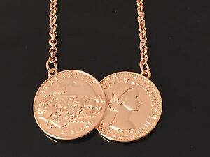 Celebrity Inspired Costume ROSE GOLD Double Coin 2Coin Necklace-Holly Willoughby