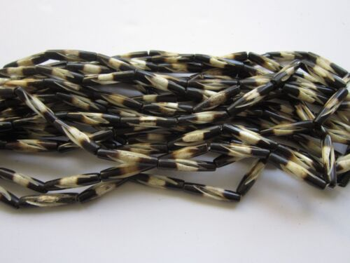 Buffalo Bone Two Tone Carved Hairpipe Beads Jewelry Crafts 1 Strand 3 sizes 545