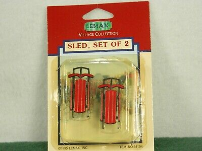 LEMAX O SCALE #54104 TWO SNOW SLED SET FOR WINTER SCENE TRAINS & VILLAGES NIB