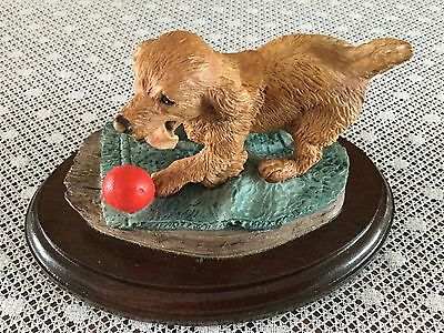 Nice Resin Sculpture Of A Spaniel And Ball By Peter Tomlins Dated 1988