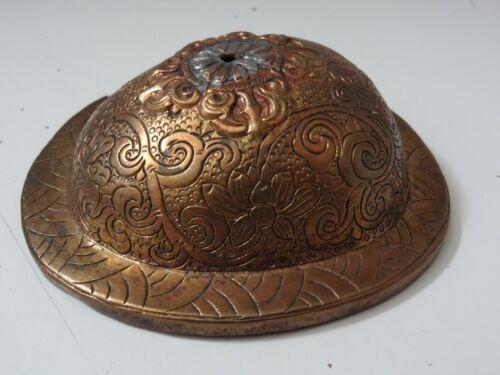 ANTIQUE MONGOLIAN TIBETAN  BUDDHIST COPPER  SKULL CUP LID