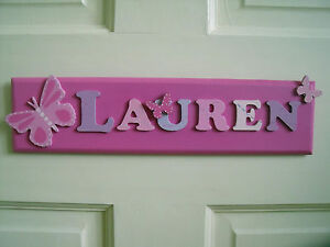 Childrens Wooden Name Plaque Hand Painted Personalised