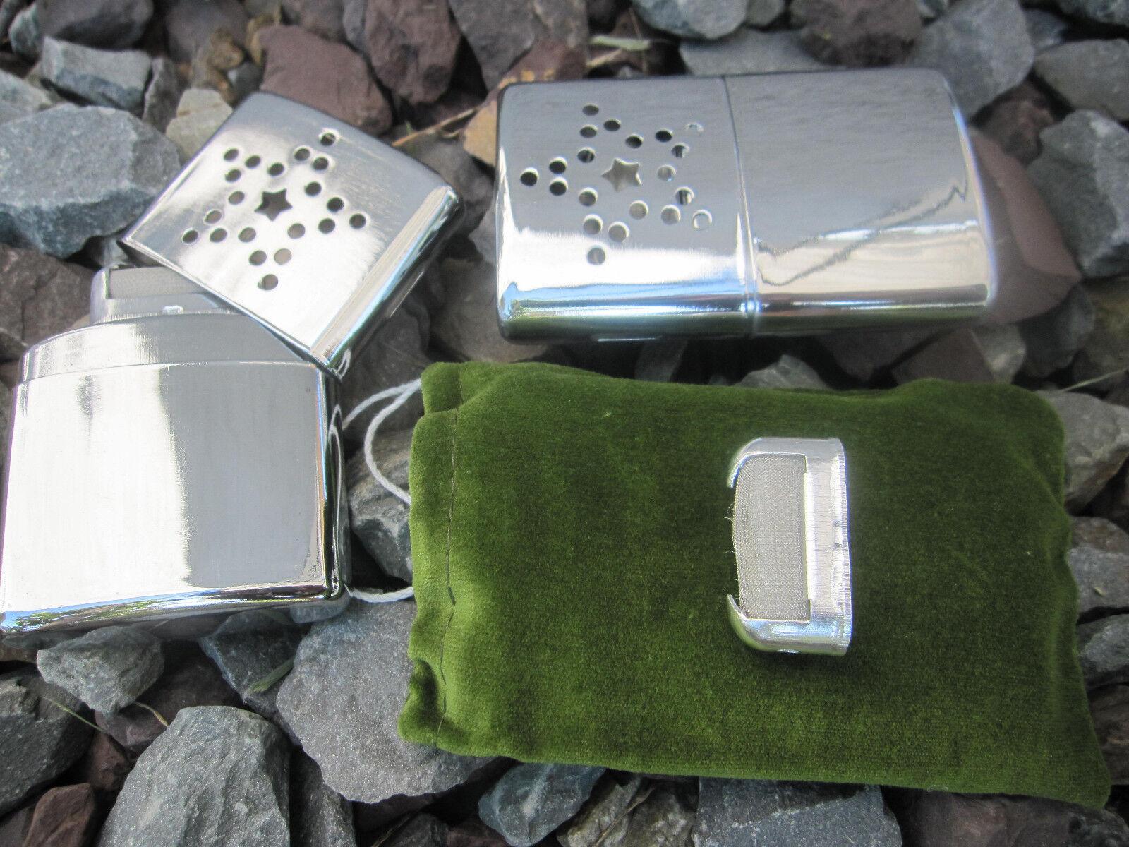 2 in 1 Taschenwärmer + Ersatzbrennkopf Handwärmer Outdoor Taschenofen Benzin