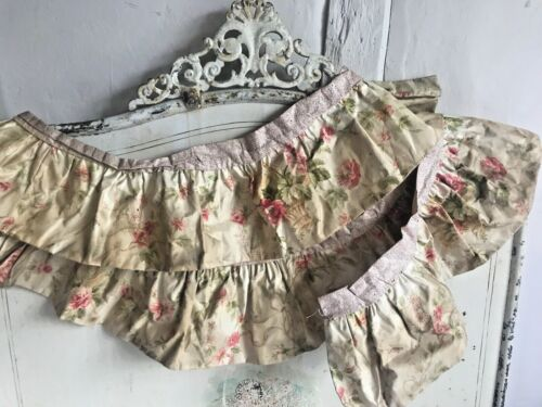 Antique French Fabric Chateau Chic Pelmet Valance Pink Floral Silk / Home Decor
