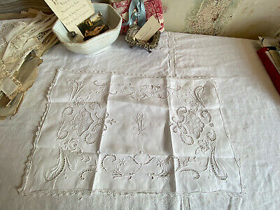 Vintage White Mat Embroidered Cotton Lace , French Doily Wedding Home Gift / 1pc
