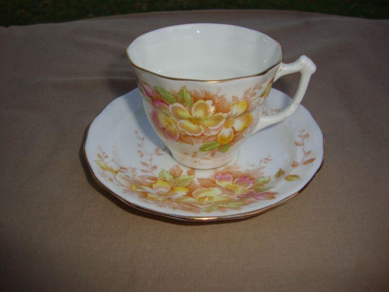 Sampson Smith Old Royal Bone China England Demitasse Set Gold Trim Yellow Floral