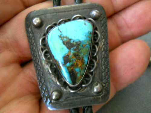 Southwestern Native American Navajo Turquoise Sterling Silver C-31 Bolo Tie