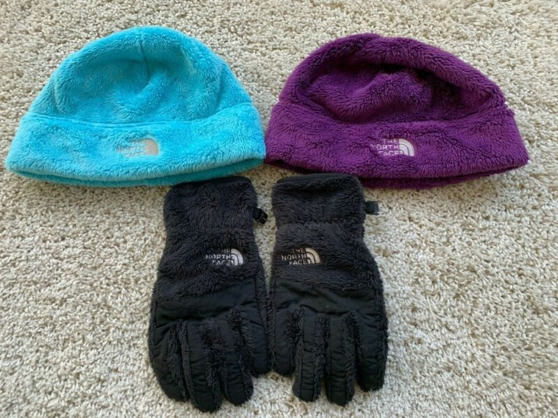 The North Face Girls 2 Hat Soft Winter One Size Youth/ Junior Blue & Purple Lot