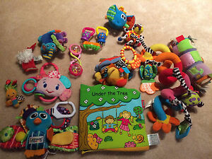 Infant toys rattles and books