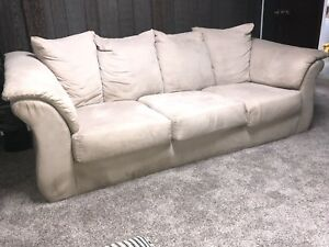 Gorgeous white suede couch in mint condition!